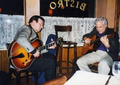 Trefor Owen with Gene Bertoncini playing a gig at La Madeleine on West 43rd St. in New York City