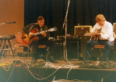Trefor Owen with Jim Nichols in the main auditorium at the Chet Atkins Convention in Nashville.