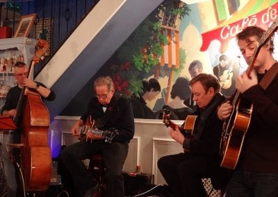 Trefor Owen with Vic Juris, Andy Hulme and Dave Turner (double bass) at the Cheadle Jazz Guitar Club - April 2016.